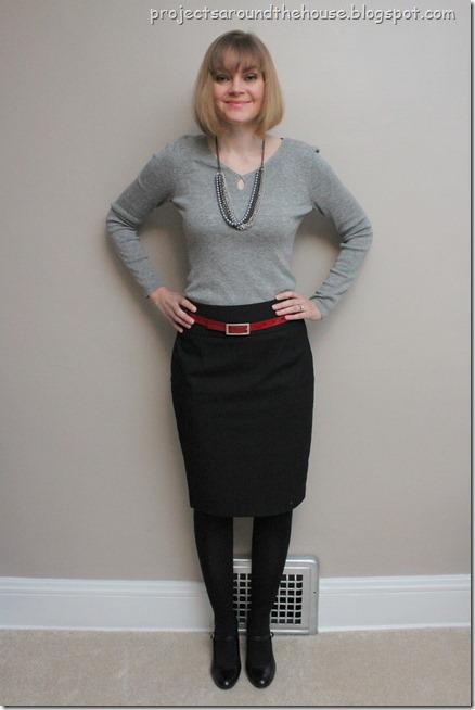 grey sweater, black pencil skirt, red belt