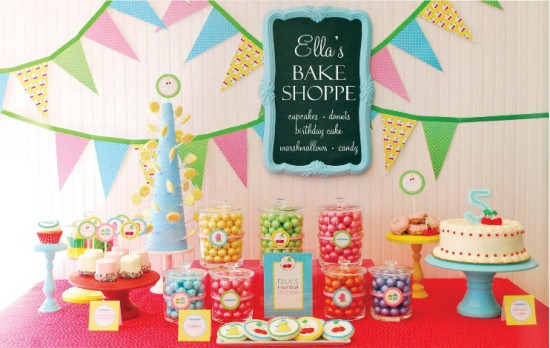 party planning idea using bright colors, a candy and sweets bar, colorful pennant bunting