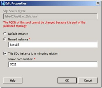 Lync 2013 - SQL Mir - 2 primary port define