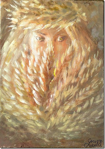 Un chip inocent de fata cu spice de grau pictura tempera - Innocent girl with wheat painting
