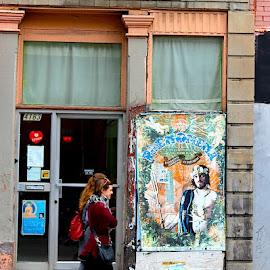 Phenomena by Ronnie Caplan - City,  Street & Park  Street Scenes ( signs, building, walking, illustration, door, windows, people, facade, advertisements, poster, bricks, pillar, sidewalk )