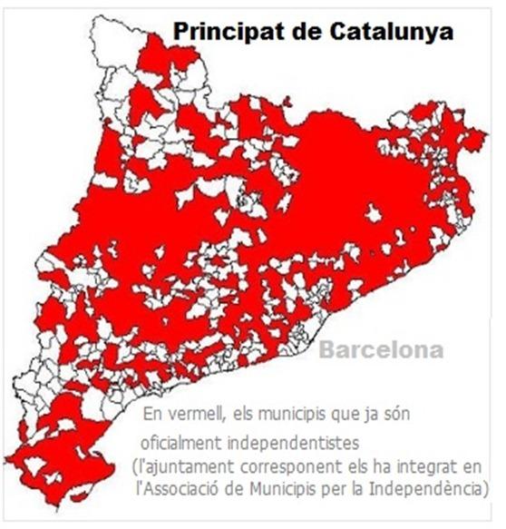 Mapa de las comunas catalanas independentistas 151012