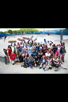 I need a better pic. of this one but here are the women of skateboarding today. Robin is on bottom left on her knee in red.