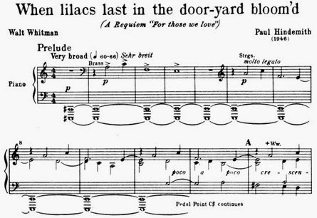 IN REVIEW: Paul Hindemith's WHEN LILACS LAST IN THE DOOR-YARD BLOOM'D (Choral Society of Durham - 8 February 2015)