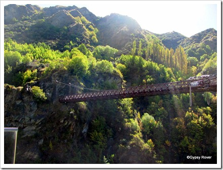 The 1880 model Kawarau road bridge over the river.