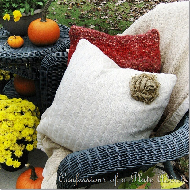 Confessions of a Plate Addict - Sweater Pillows and Burlap Rose Tutorial