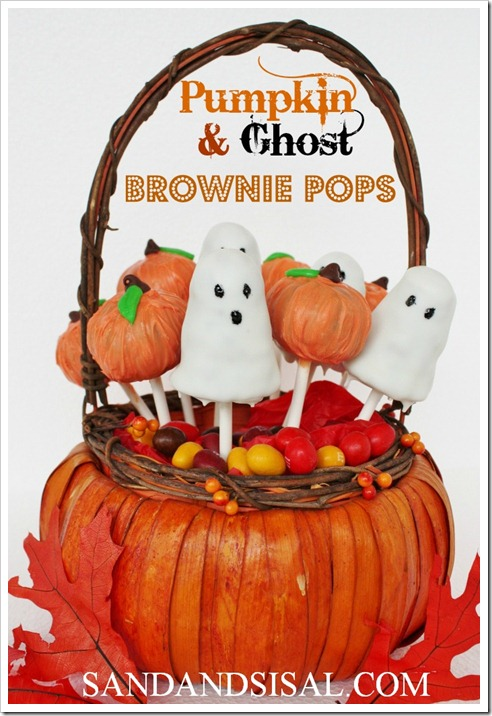 Pumpkin &#038; Ghost Brownie Pops 