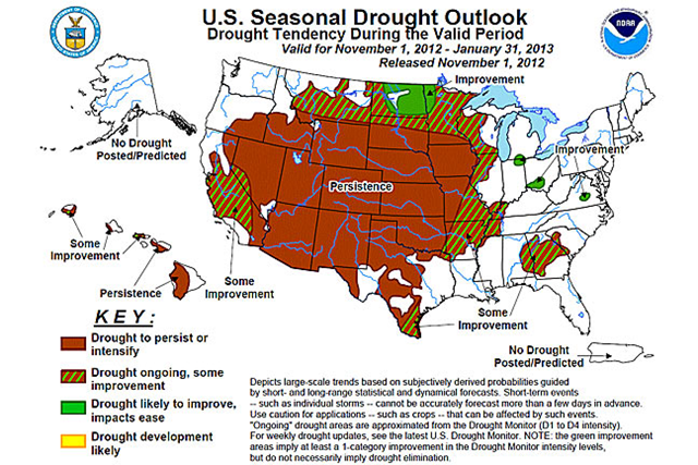 U.S. Seasonal Drought Outlook, 1 November 2012 - 31 January 2013. Dry weather was predicted to continue through at least the end of January in the drought-stricken U.S. Plains. NOAA