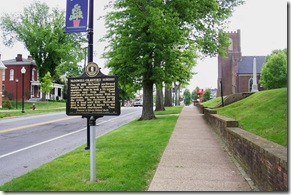 McDowell-Crawford Surgery marker looking east on Main Street