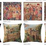 Gobeliny przedstawiające obrazki z życia dworskiego średniowiecznej Francji.