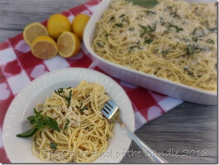 Lemon & Basil Spaghetti via TheOtherEndOfTheCandle.com