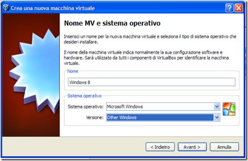 VirtualBox Nome MV e sistema operativo