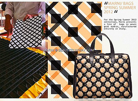 Marni Spring Summer 2012 handbag woven  lambskin waffled Black Ecruarge silk  clutch purse leather shopper bag fringe Club 21