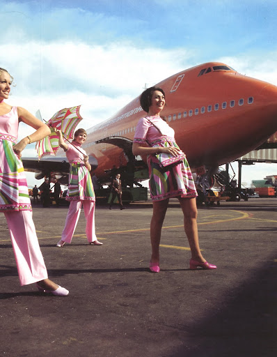 Pucci even designed uniforms for the air hostesses of Braniff Airways in 1971.  These women show how much light-hearted joy and pride can be felt in Pucci clothing.