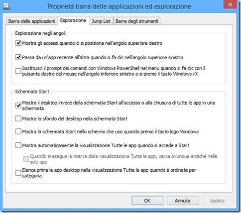 Proprietà barra applicazioni Windows 8.1