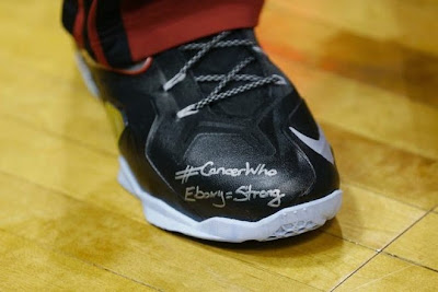 lebron james nba 140329 mia at mil 03 #LeBronMetEbony and Wrote Her Special Message on His LeBron 11 Elite PEs