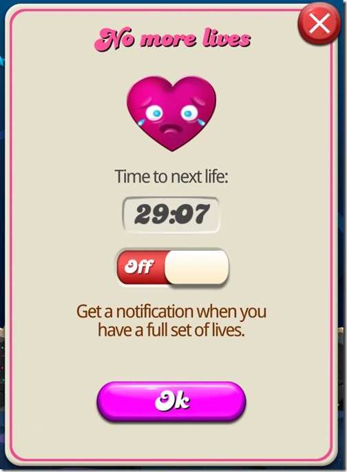 Candy Crush Saga - No more lives
