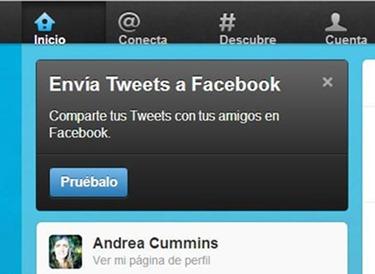 Envía tweets a Facebook