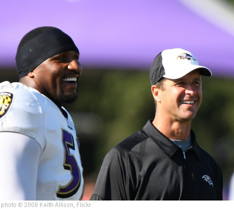 'Ray Lewis, John Harbaugh' photo (c) 2008, Keith Allison - license: http://creativecommons.org/licenses/by-sa/2.0/
