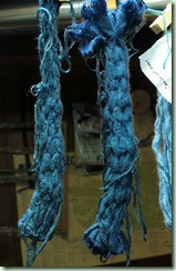 Woad on woven shibori