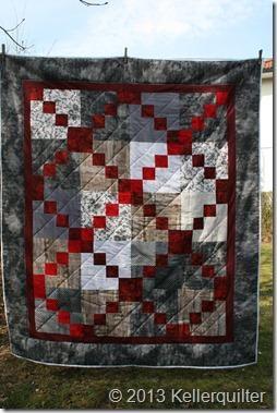 Quilt052-Rot und Grau