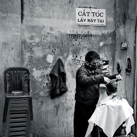 Hanoi Street Barber by Matthäus Rojek - City,  Street & Park  Street Scenes ( hanoi street barber, vietnam )