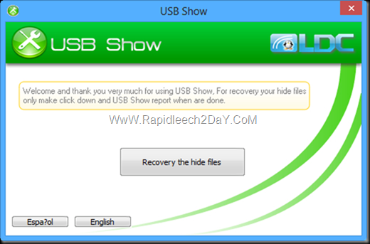 USB Show for Recovery your hide files