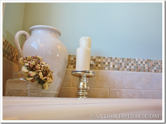 How to add a stone and glass tile border