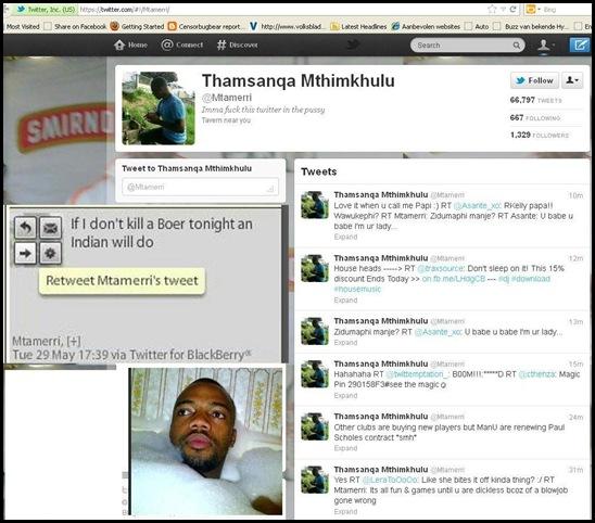 ANC MEMBER THAMSANQA MTHIMKHULU IF I DONT KILL A BOER TONIGHT AN INDIAN WILL DO MAY 29 2012