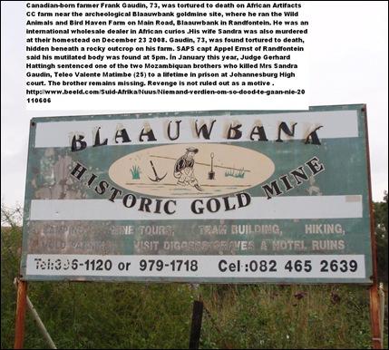 GaudinFrank73murderedJune42011wifeSandraMurdrdDec232008_nearBlaauwbankHistoricGoldMineRandfontein