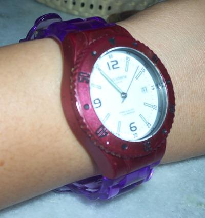 Mondaine Twist: roxo translúcido + vermelho metalizado