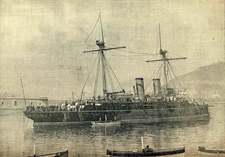 Grabado del REINA REGENTE.Revista de Navegación y Comercio. Año 1892.jpg