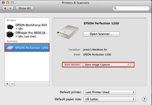 Printer and Scanner Preference Pane and setting up scanner