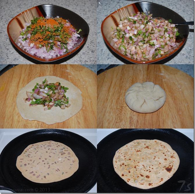 Onion paratha process