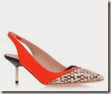 Kurt Geiger Orange Slingack with Snake Print Toe