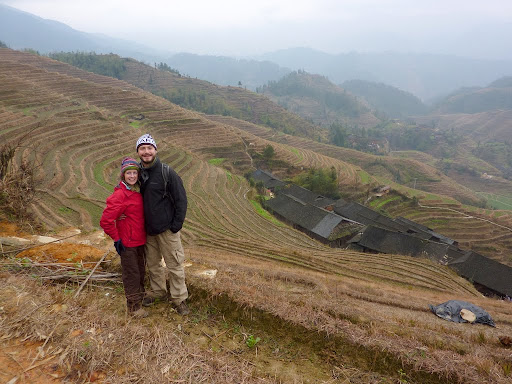 Lynette and I in front of the Dragon's Backbone Terraces.