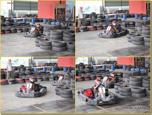 Daniel karting around the S-turn with a wave