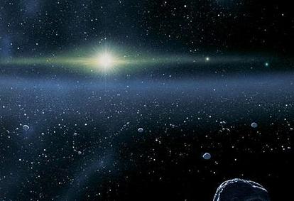 ilustração de uma vista do Sol a partir do Cinturão de Kuiper