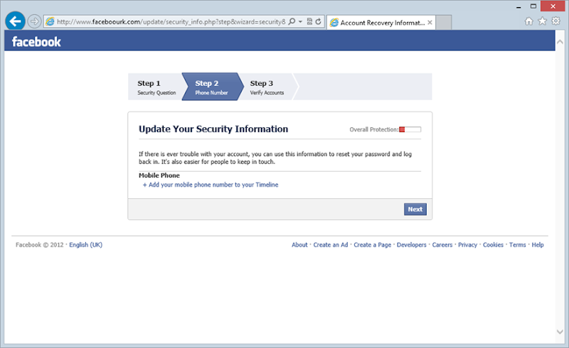 2nd step of updating security information