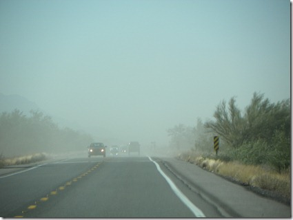 Dust blowing across highway on our way to Sunscape RV Park to visit LoPo and NoPo.