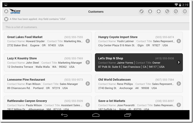 Mobile app created with Code On Time displayed with undocked sidebar and two-column list of 'cards' in landscape orientation on Google Nexus 7.
