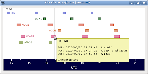 The sky at a glance gives you a quick overview of upcoming passes.