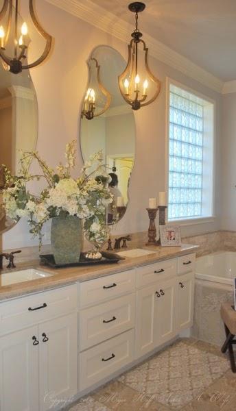 Double vanity with recessed sinks ballard designs curvy mirrors