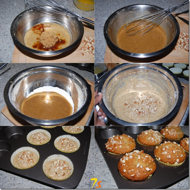 Eggless banana nut muffin