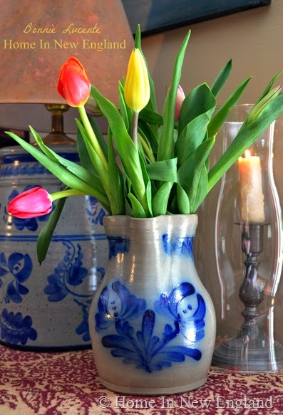 tulips blue jug