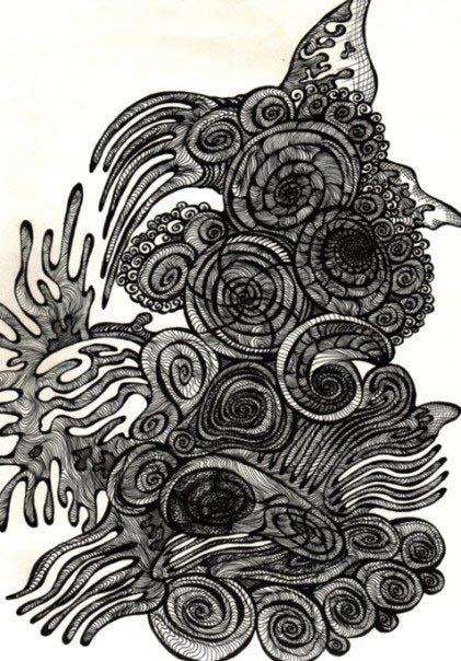 coral flow contour drawing