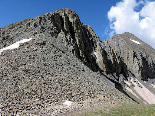Loose scree descent of Jones n.e. ridge.