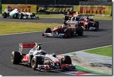 Button precede le due Ferrari al gran premio del Giappone 2011