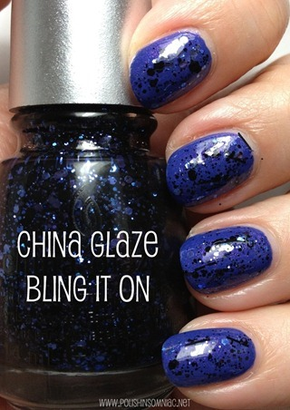 China Glaze Bling It On (over Fancy Pants)