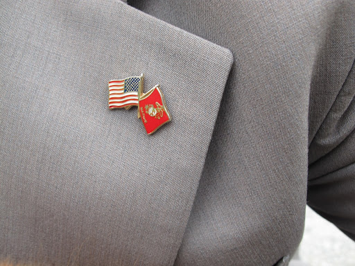 Wow!  You proudly display the Marine insignia on your lapel.  You look so dignified and handsome in your Marine uniform on Martha's blog today.